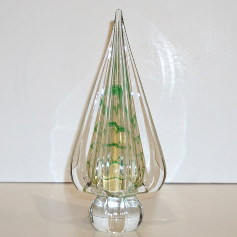 Cenedese 1980s Italian Vintage Green Gold Crystal Murano Glass Tree Sculpture