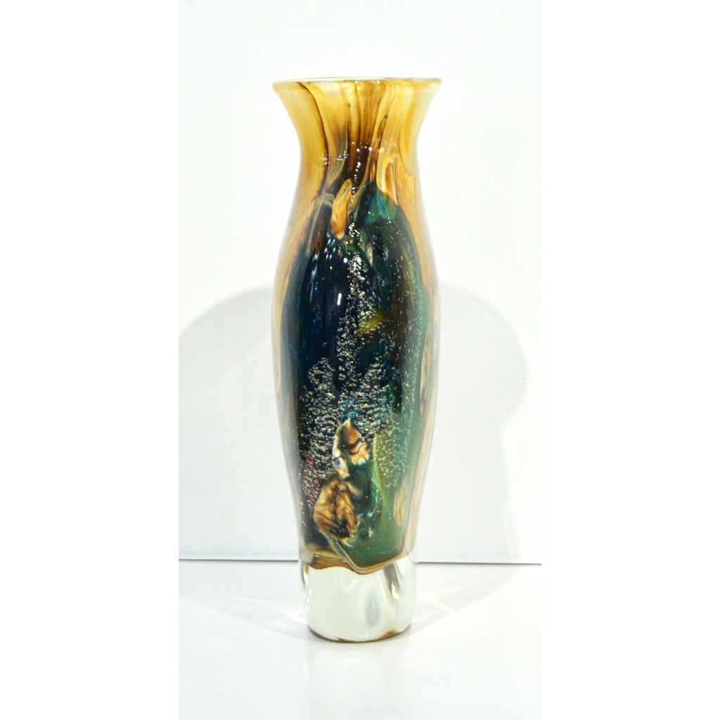 Michele Onesto 1990s Green Yellow Blue Silver Overlaid Crystal Murano Glass Vase