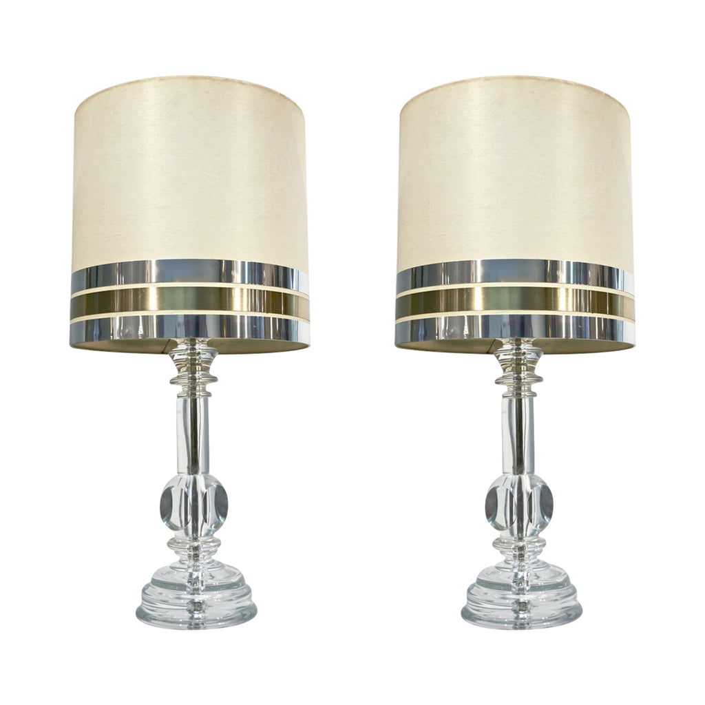 1970s Italian Vintage Pair of Modern Crystal Table Lamps with Organic Design