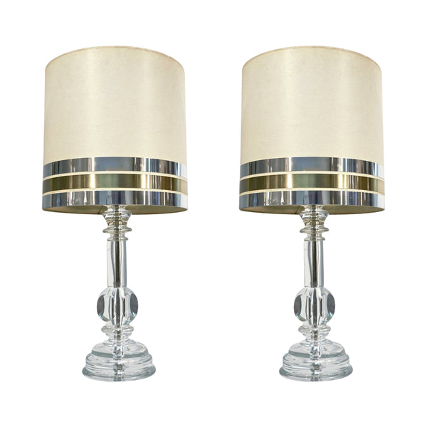 1970s Italian Vintage Pair Of Modern Crystal Table Lamps Cosulich