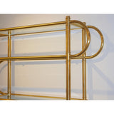Italian Modern Gold Brass Tubular Shelving Unit Étagère on Black Lacquered Base