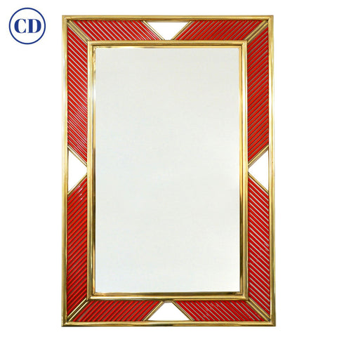 Italian Modern Brass Geometric Mirror with Coral Red Murano Glass Baguettes