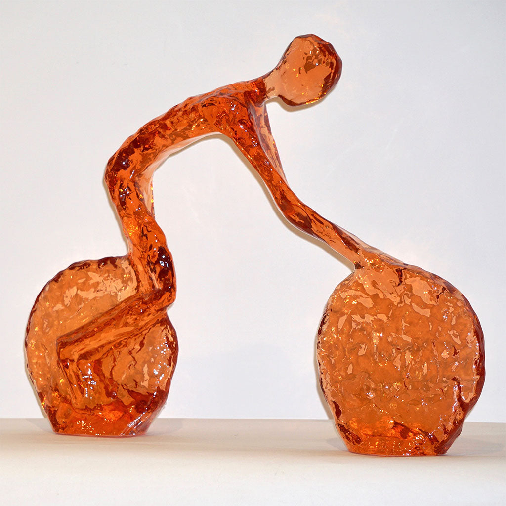 Contemporary Tangerine Orange Modern Lucite Sculpture of Minimalist Cyclist
