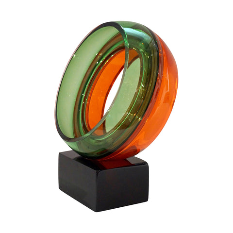 Minimalist Italian Green Orange Red Murano Art Glass Abstract Sculpture