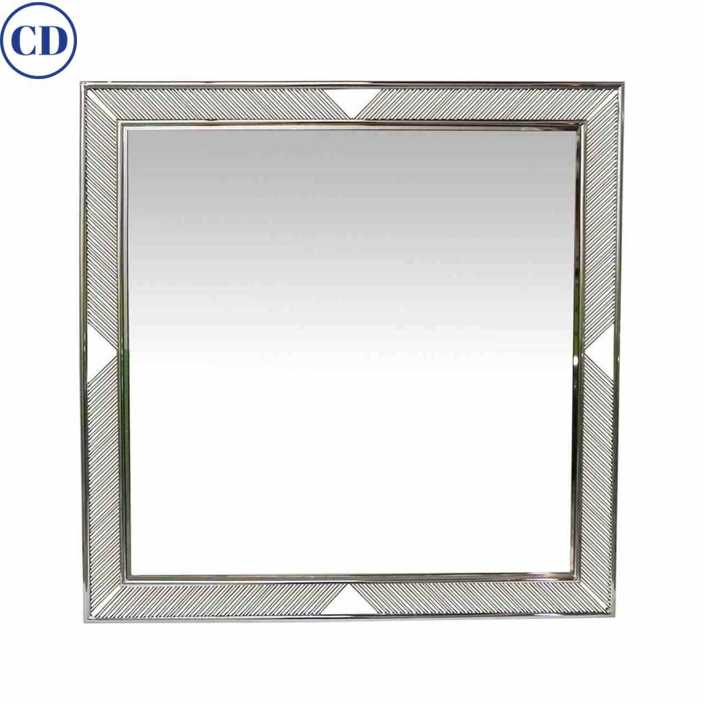 Contemporary Minimalist Italian Nickel Wall Mirror with Modern Baguette Fretwork