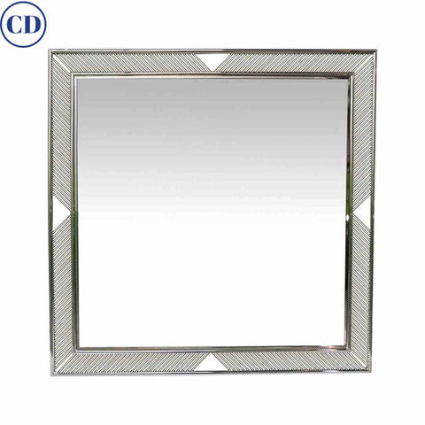 Contemporary Minimalist Italian Nickel Mirror with Modern Baguette Fretwork