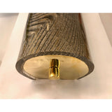 Modern Italian Pair of Smoked Frosted Glass and Brass Wall or Ceiling Lights