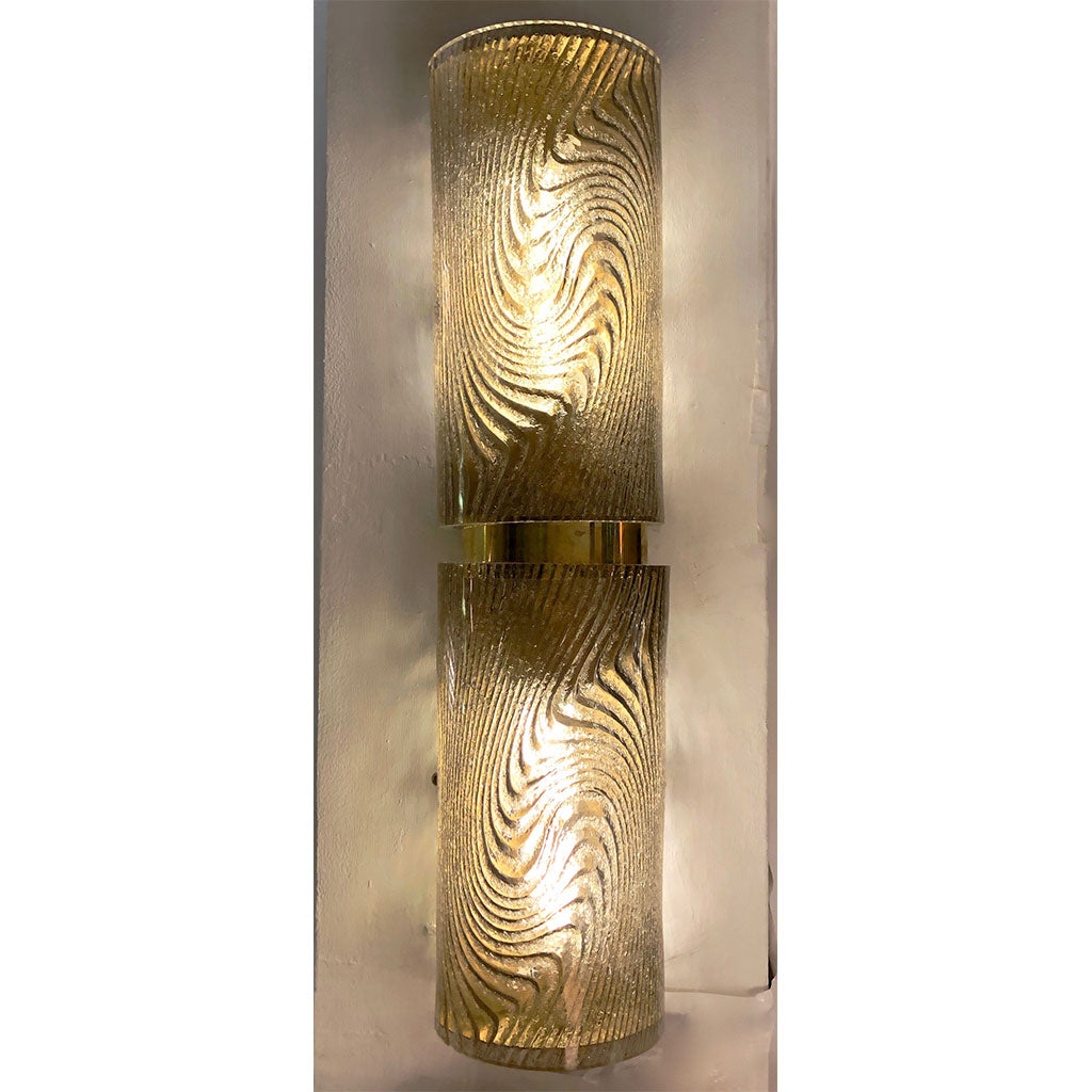 Modern Italian Pair of Smoked Frosted Murano Glass & Brass Wall / Ceiling Lights
