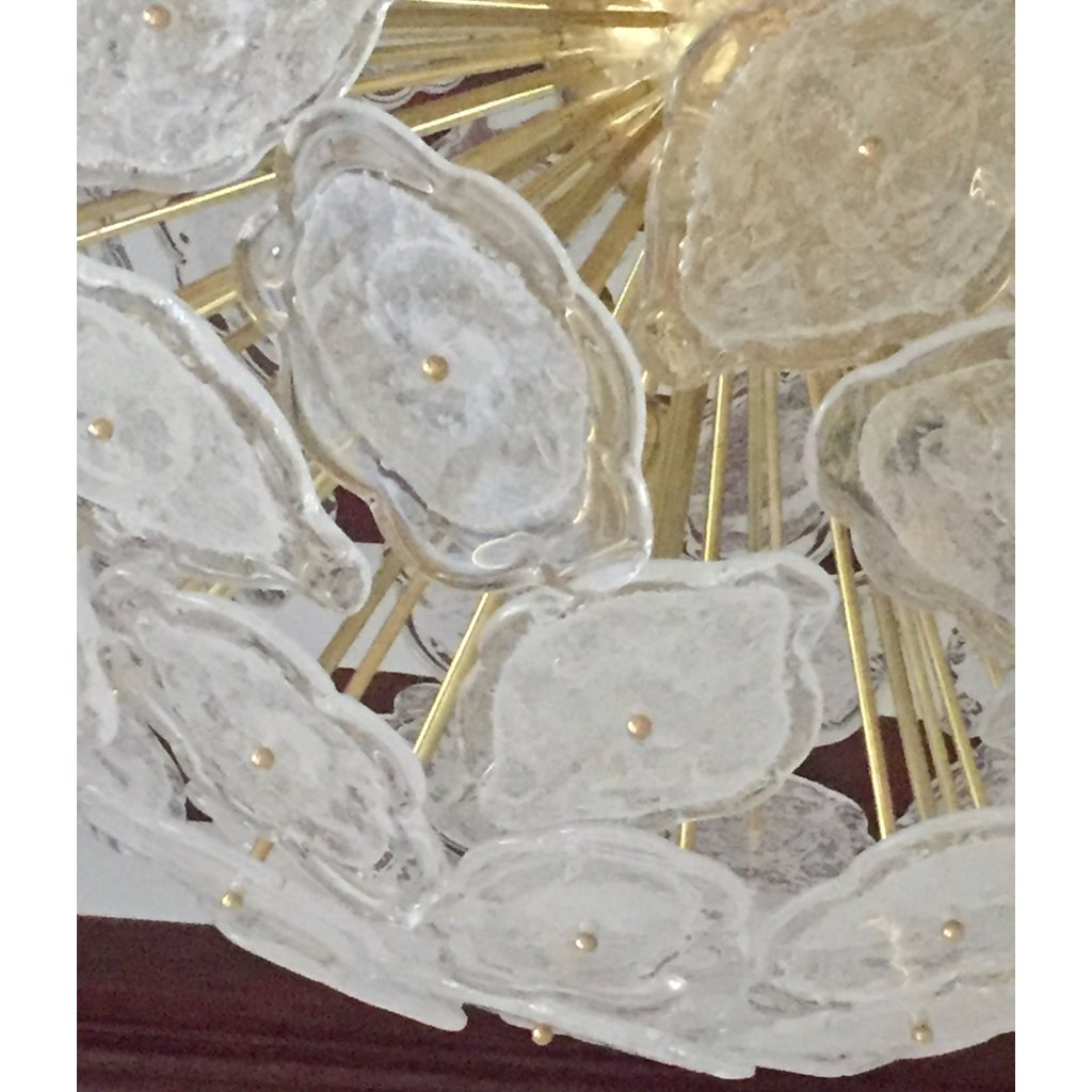 Contemporary Italian Brass & White Frosted Murano Glass Leaf Sputnik Chandelier