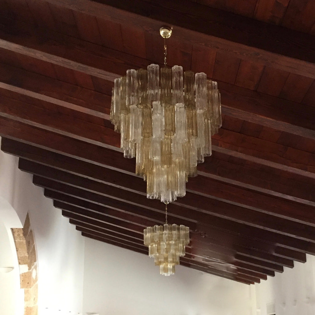 Italian Contemporary Amber & Crystal Clear Murano Glass Tronchi Star Chandelier