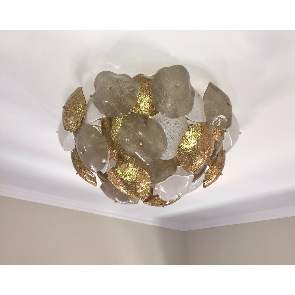Contemporary Italian Gold Silver White Scavo Murano Glass Round Leaf Flushmount