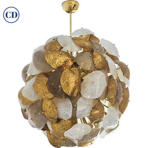 Modernist Italian Gold Silver White Scavo Murano Glass Round Leaf Chandelier