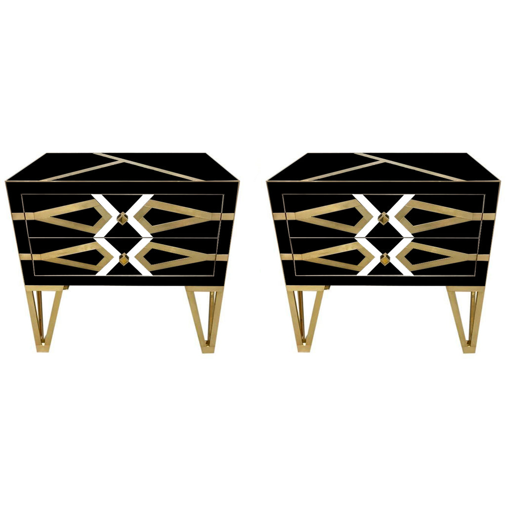 Bespoke Cosulich Creation Pair Gold Brass Black & White Side Tables/Nightstands