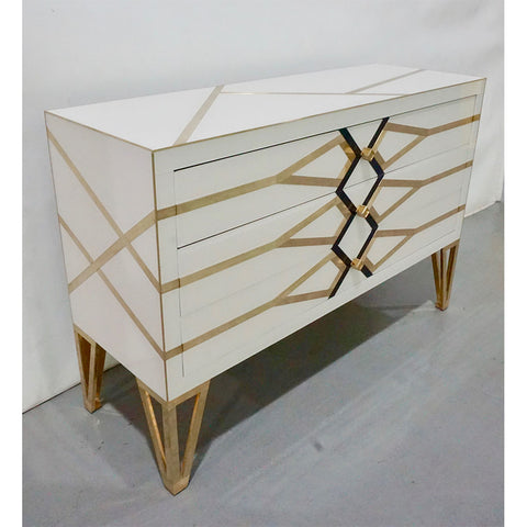 Contemporary Italian Design Gold Brass, Black and Cream White Three-Drawer Chest - Cosulich Interiors & Antiques