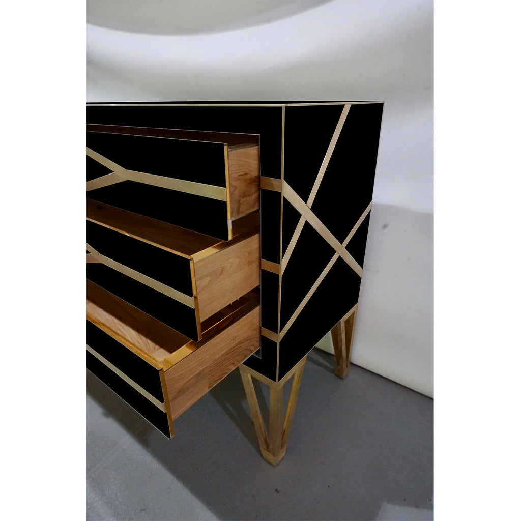 Contemporary Italian Design Gold Brass and Black Three-Drawer Chest or Sideboard