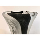Davide Dona Modern Black White and Crystal Clear Murano Glass Sculptural Vase