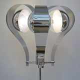 Italian 1960s Tall Vintage Chrome and White Marble Table Lamp