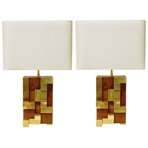 Contemporary Italian Architectural Pair of Stepped Wood and Brass Urban Lamps - Cosulich Interiors & Antiques