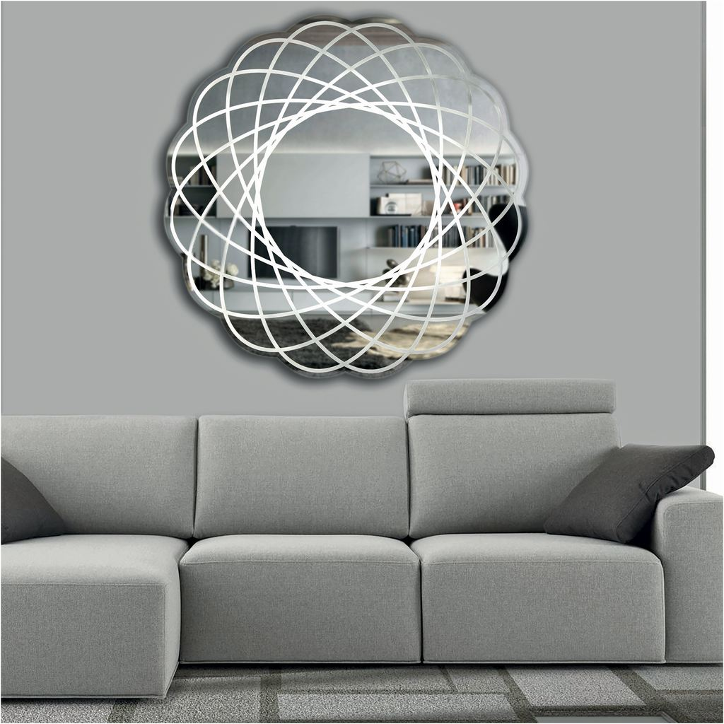 Contemporary Italian Organic Modern Lace Decor Scalloped Round Mirror with Light