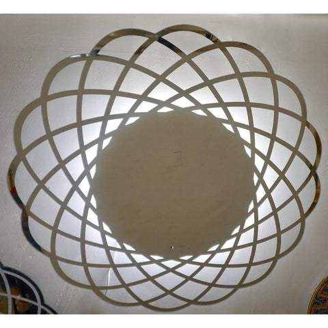 Contemporary Italian Minimalist Lace Decor Scalloped Round Mirror with Light