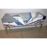 Contemporary Italian Pop Design Pastel Colored Glass Console / Sideboard on Nickel Legs