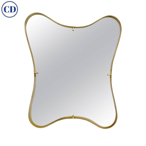 Contemporary Italian Minimalist Brass Wall Mirror with Organic Undulating Frame