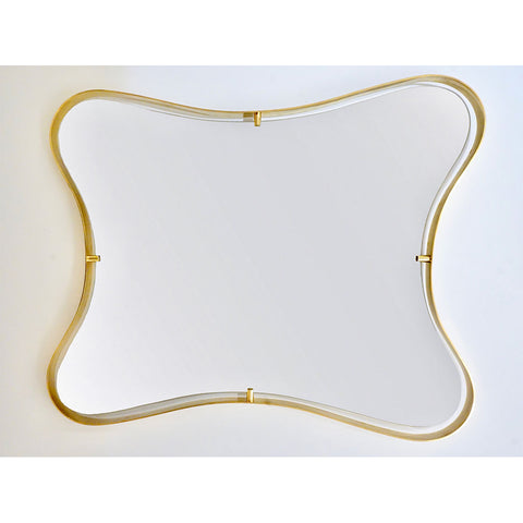 Contemporary Italian Minimalist Brass Mirror with Organic Undulating Frame - Cosulich Interiors & Antiques