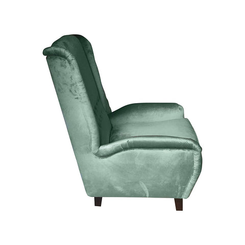 Contemporary Italian Gio Ponti Style Teal Aqua Green Velvet High Back Armchair