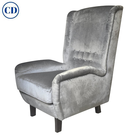 Contemporary Italian Gio Ponti Style Teal Grey Velvet High Back Armchair
