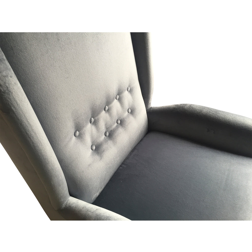 Contemporary Italian Gio Ponti Style Gray Velvet High Back Modern Armchair