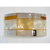 1960s Italian Orange Ivory Murano Glass Mondrian Design Flushmounts or Sconces