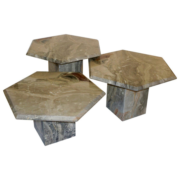 1970s Vintage Italian 3 Geometric White Gray and Red Vein Marble Nesting Tables