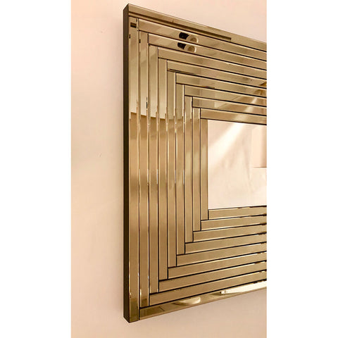 Contemporary Geometric Italian Bronze Murano Glass Gradient Square Wall Mirror