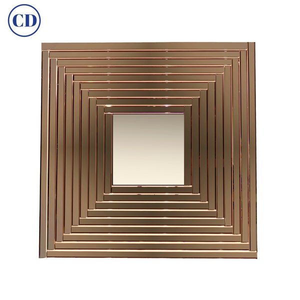 Contemporary Geometric Italian Bronze Murano Glass Gradient Square Mirror