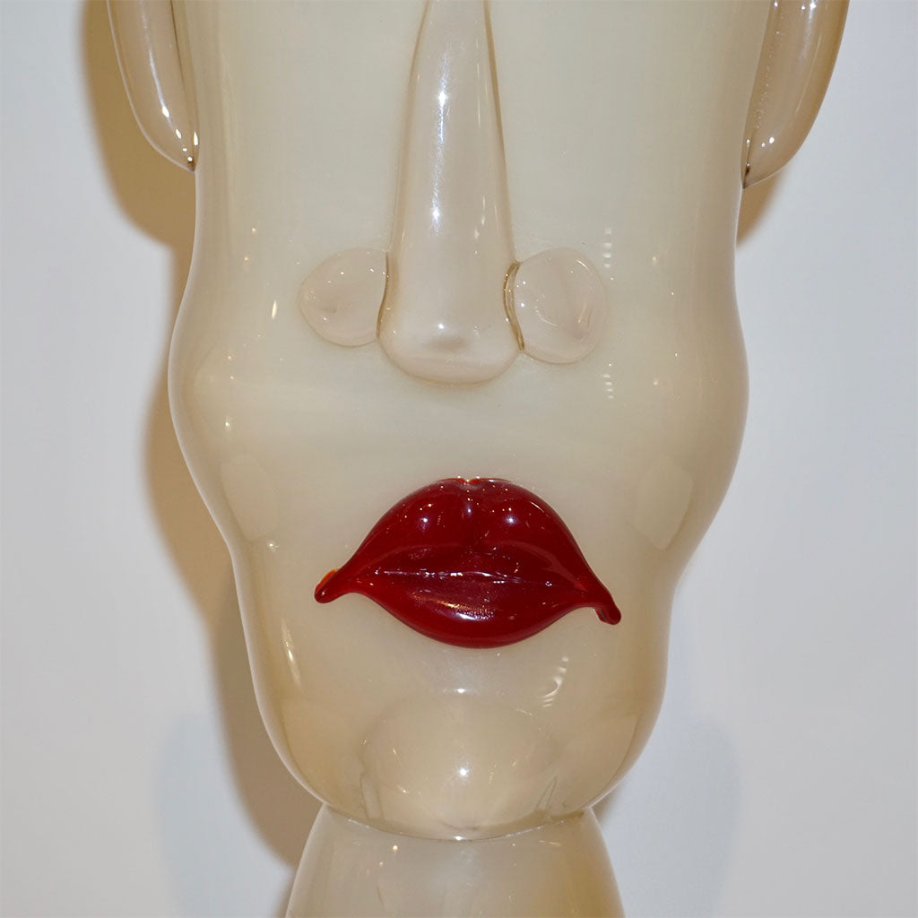 Formia 1980s Modern Italian Comic Ivory Glass Head Sculpture