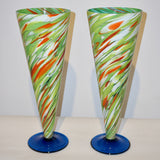 Cenedese 1970 Pair of White Green Orange Murano Glass Conical Vases on Blue Base