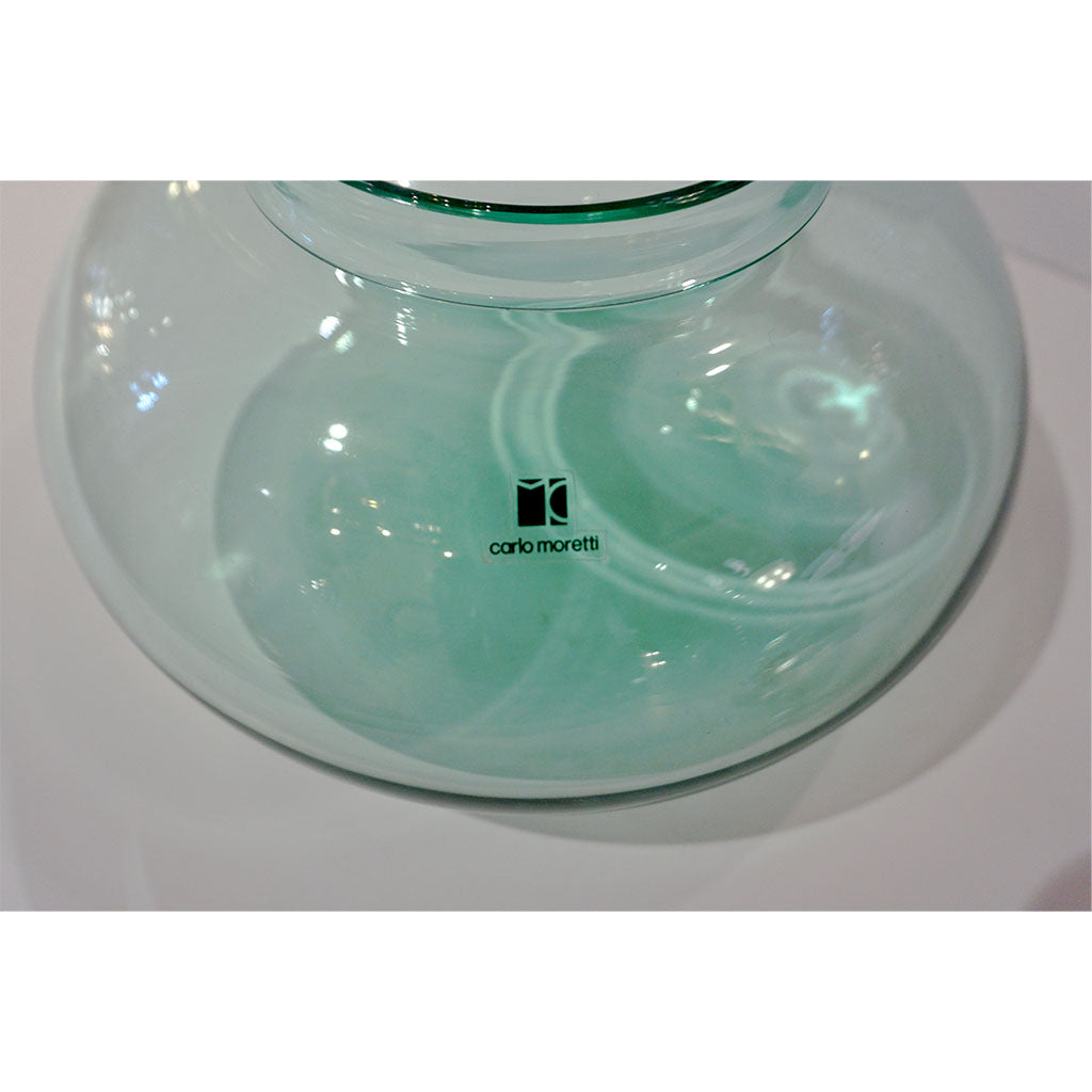 Vintage Carlo Moretti 1980s Round Apple Mint Murano Crystal Glass Box