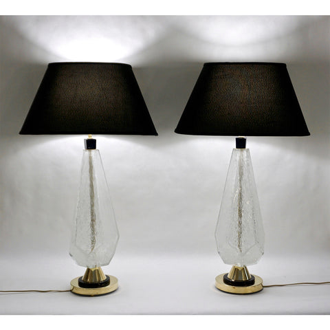 Contemporary Italian Pair of Diamond Cut Black and Crystal Murano Glass Lamps