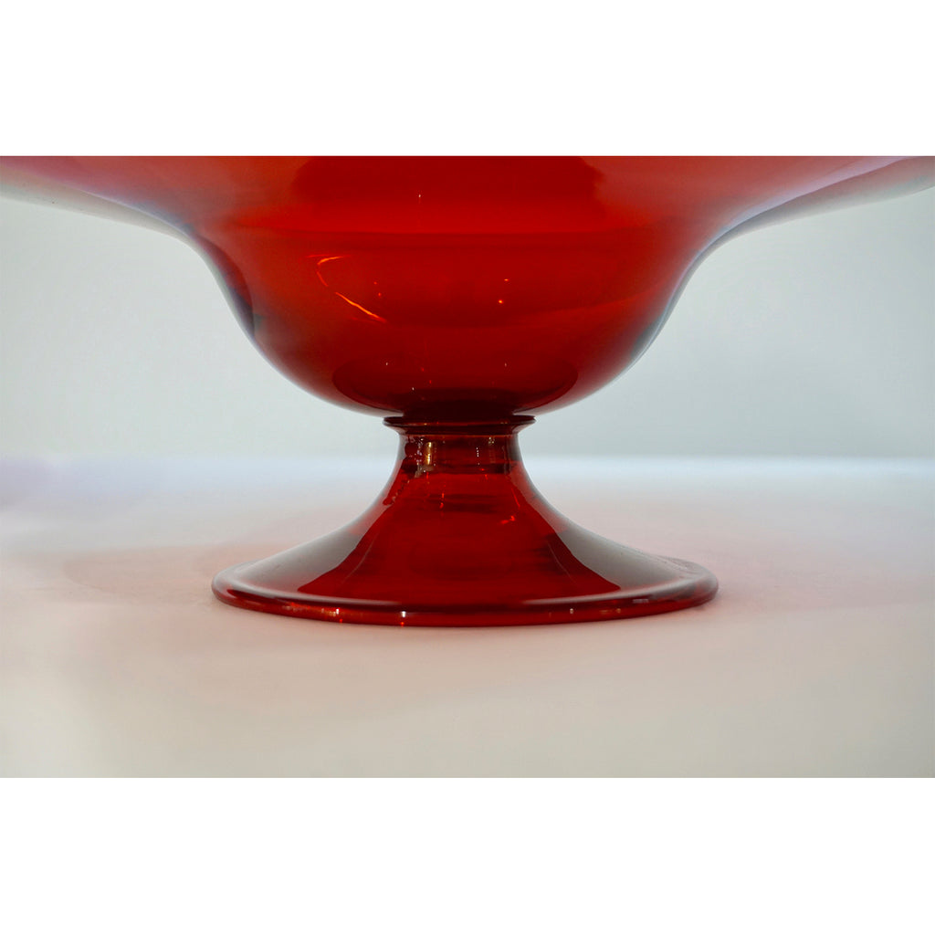 Salviati 1940s Italian Pair of Antique Ruby Red Blown Murano Glass Compote Bowls