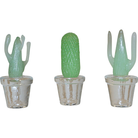 1990s Marta Marzotto Miniature Green Murano Glass Cactus Plants by Formia