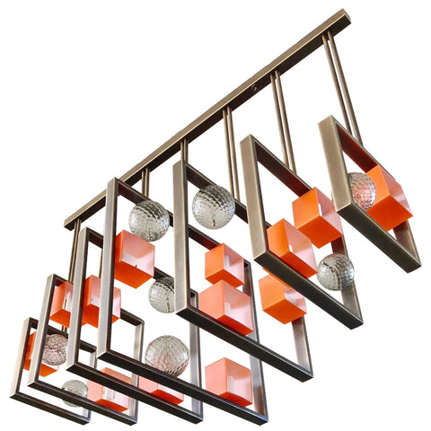 Minimalist Bronze Brass Cubic Chandelier with Orange & White Murano Glass Cubes