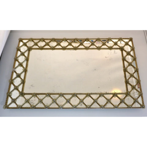 1940s Italian Antique Venetian Geometric Amber Gold Murano Glass Wall Mirror