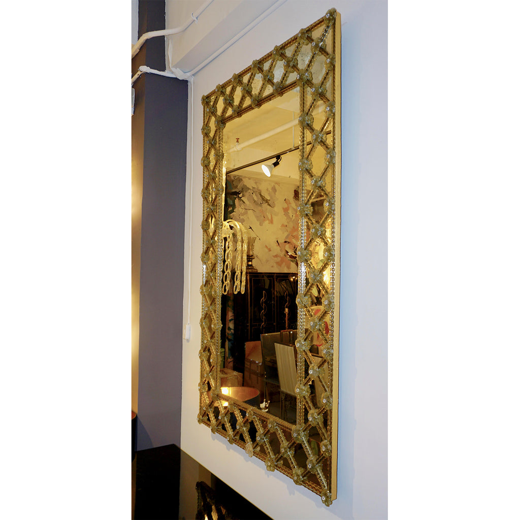 1940s Italian Antique Venetian Geometric Amber Gold Murano Glass Mirror