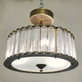 Italian Antique Bronze Finish Crystal Murano Glass Flush mount / Drum Chandelier