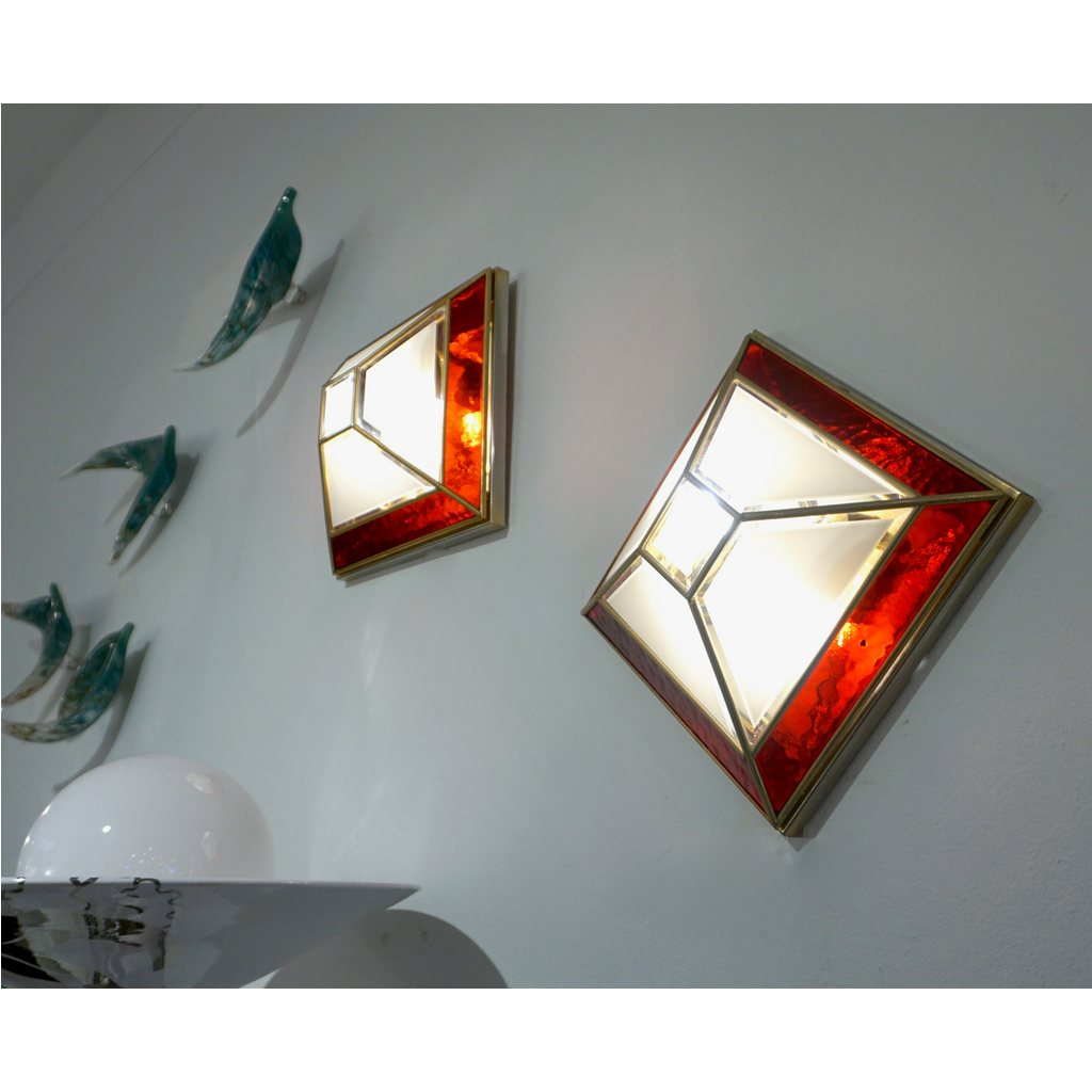 Italian 1950s Art Deco Style Pair of Red White Frosted Glass Sconces/Flushmounts