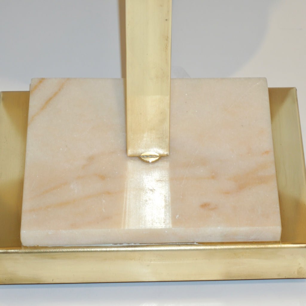 1970s Vintage Italian Pair of Modern Design Brass and Pink Carrara Marble Table Lamps