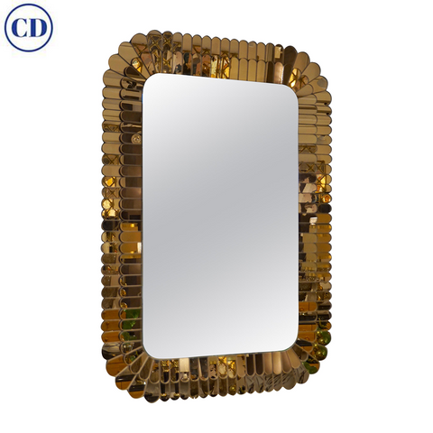 Contemporary Italian Scalloped Double Frame Silvered Bronze Murano Glass Wall Mirror