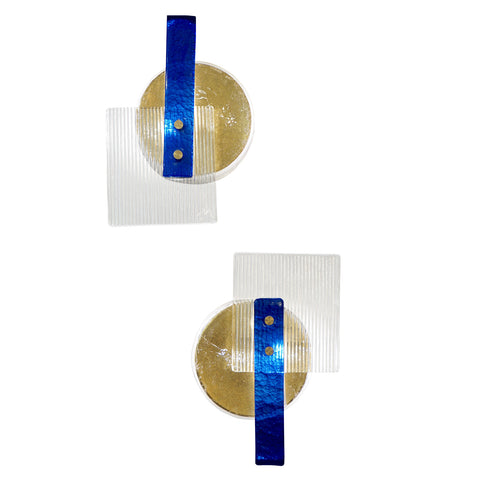 Italian Pair of Abstract Modern Gold Sapphire and Crystal Murano Glass Sconces