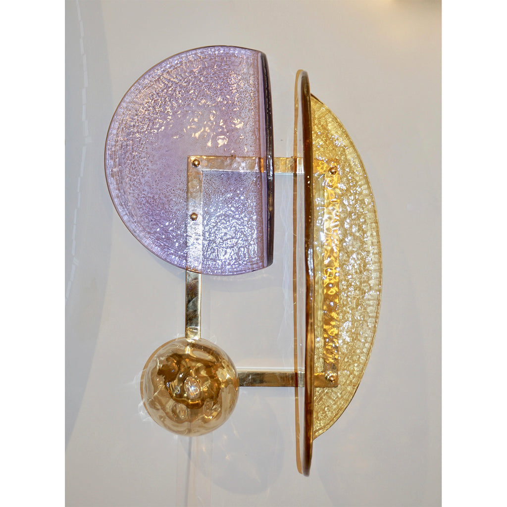 Contemporary Italian Pair of Amber and Amethyst Murano Glass Gold Brass Sconces
