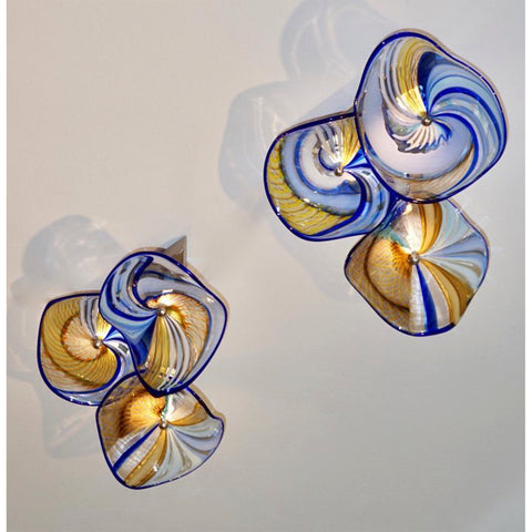 Contemporary Italian Pair of Gold Blue White Yellow Murano Glass Disc Sconces